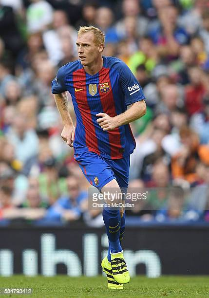 Jeremy Mathieu of Barcelona during the International Champions Cup series match between Barcelona and Celtic at Aviva Stadium on July 30 2016 in...