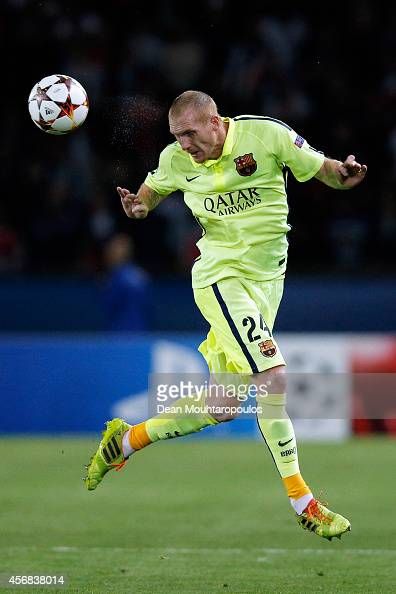 Jeremy Mathieu of Barcelona in action during the Group F UEFA Champions League match between Paris SaintGermain v FC Barcelona held at Parc des...