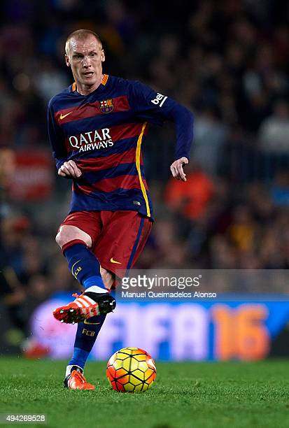 Jeremy Mathieu of Barcelona in action during the La Liga match between FC Barcelona and SD Eibar at Camp Nou Stadium on October 25 2015 in Barcelona...