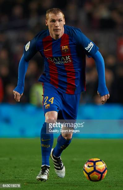 Jeremy Mathieu of Barcelona in action during the La Liga match between FC Barcelona and CD Leganes at Camp Nou Stadium on February 19 2017 in...