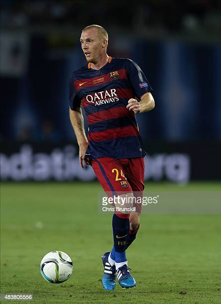 Jeremy Mathieu of Barcelona in action during the UEFA Super Cup match between Barcelona and Sevilla FC at Dinamo Stadium on August 11 2015 in Tbilisi...