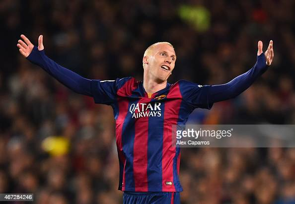 Jeremy Mathieu of Barcelona reacts during the La Liga match between FC Barcelona and Real Madrid CF at Camp Nou on March 22 2015 in Barcelona Spain