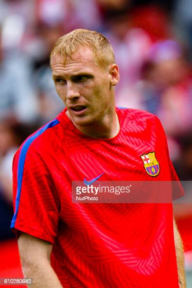 Jeremy Mathieu of FC Barcelona during the match between Real Sporting de Gijón vs Futbol Club Barcelona at estadio El Molinón on September 24 2016 in...