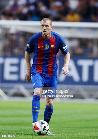 Jeremy Mathieu of FC Barcelona during the PreSeason Friendly between Leicester City FC and FC Barcelona at Friends arena on August 3 2016 in Solna...