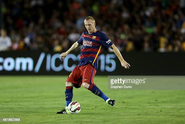 Jeremy Mathieu of FC Barcelona in action against the Los Angeles Galaxy in the International Champions Cup 2015 at Rose Bowl on July 21 2015 in...