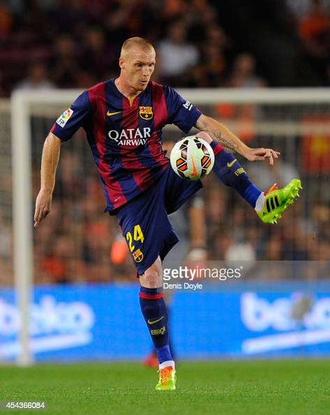 Jeremy Mathieu of FC Barcelona in action during the La Liga match between FC Barcelona and Elche FC at Camp Nou stadium on August 24 2014 in...