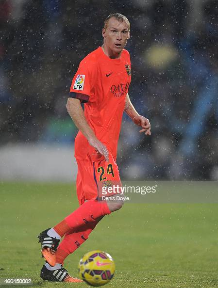 Jeremy Mathieu of FC Barcelona in action during the La Liga match between Getafe CF and FC Barcelona at the Alfonso Perez stadium on December 13 2014...