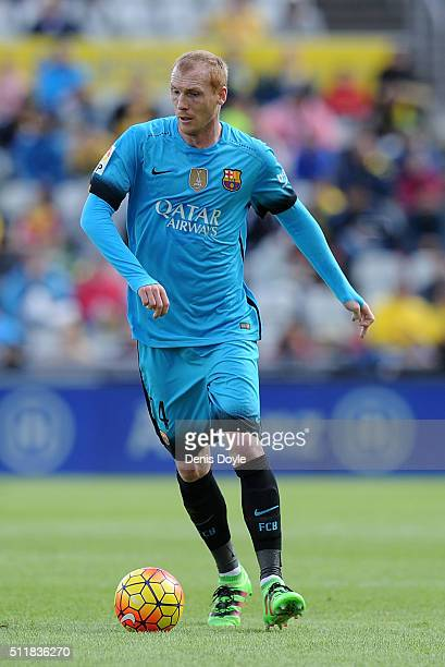 Jeremy Mathieu of FC Barcelona in action during the La Liga match between UD Las Palmas and FC Barcelona at Estadio Gran Canaria on February 20 2016...