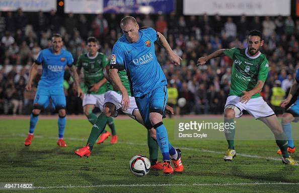 Jeremy Mathieu of FC Barcelona lines up a shot at goal during of the Copa del Rey Last of 16 First Leg match between CF Villanovense and FC Barcelona...