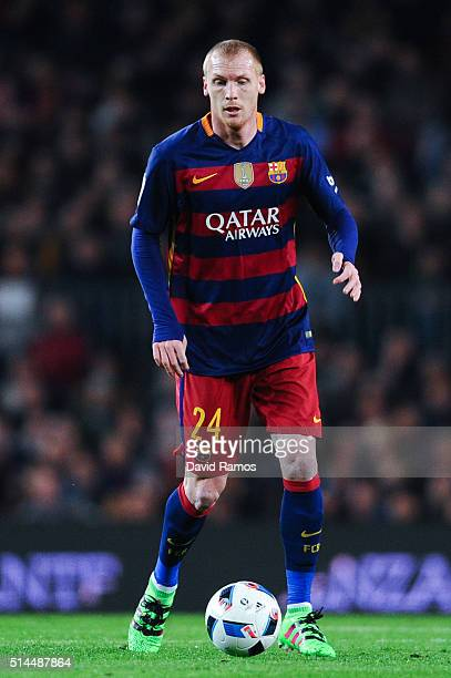 Jeremy Mathieu of FC Barcelona runs with the ball during the Copa del Rey Semi Final first leg match between FC Barcelona and Valencia at Nou Camp on...