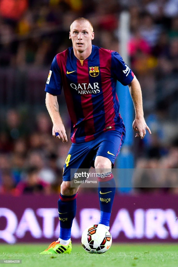 Jeremy Mathieu of FC Barcelona runs with the ball during the Joan Gamper Trophy match between FC Barcelona and Club Leon at Camp Nou on August 18, 2014 in Barcelona, Spain.