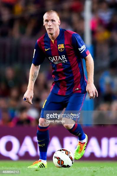 Jeremy Mathieu of FC Barcelona runs with the ball during the Joan Gamper Trophy match between FC Barcelona and Club Leon at Camp Nou on August 18...