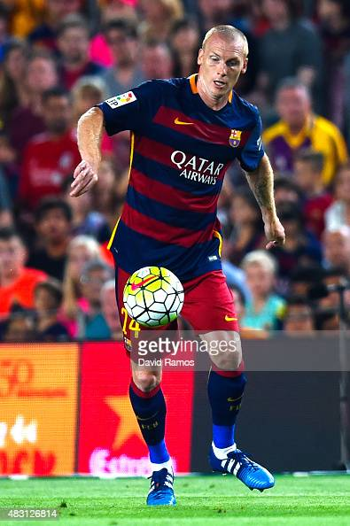Jeremy Mathieu of FC Barcelona runs with the ball during the Joan Gamper trophy match at Camp Nou on August 5 2015 in Barcelona Spain