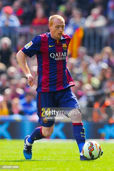 Jeremy Mathieu of FC Barcelona runs with the ball during the La Liga match between FC Barcelona and Rayo Vallecano de Madrid at Camp Nou on March 8...
