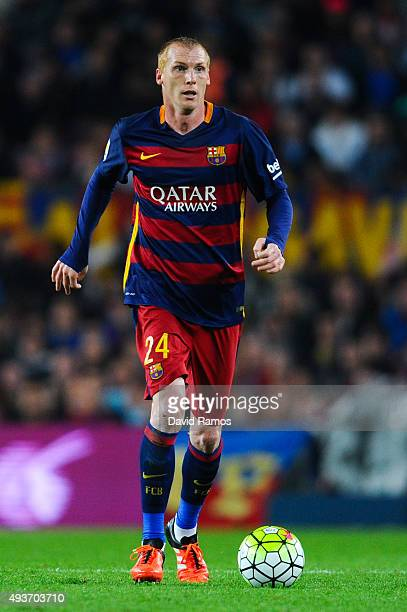 Jeremy Mathieu of FC Barcelona runs with the ball during the La Liga match between FC Barcelona and Rayo Vallecano at the Camp Nou stadium on October...