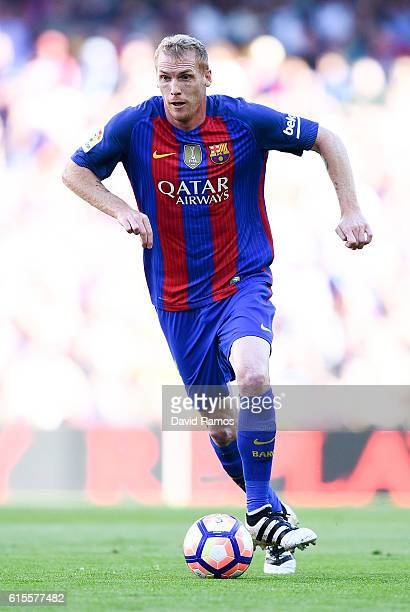 Jeremy Mathieu of FC Barcelona runs with the ball during the La Liga match between FC Barcelona and RC Deportivo La Coruna at Camp Nou stadium on...