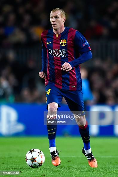 Jeremy Mathieu of FC Barcelona runs with the ball during the UEFA Champions League group F match between FC Barcelona and Paris SaintGermanin FC at...
