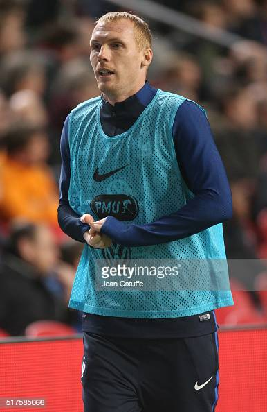 Jeremy Mathieu of France warms up during the international friendly match between Netherlands and France at Amsterdam Arena on March 25 2016 in...