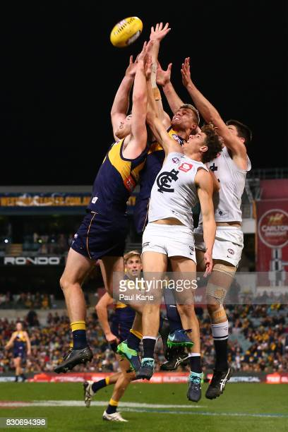 Jeremy McGovern of the Eagles gets front position for a pack mark during the round 21 AFL match between the West Coast Eagles and the Carlton Blues...