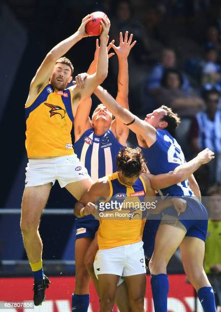 Jeremy McGovern of the Eagles marks during the round one AFL match between the North Melbourne Kangaroos and the West Coast Eagles at Etihad Stadium...