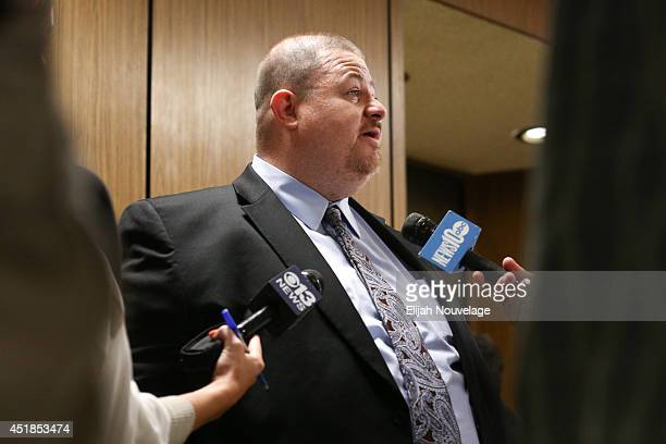 Jeremy Meeks' attorney Tai Bogan speaks to the press following Meeks' brief court appearance July 8 2014 in Stockton California During the appearance...