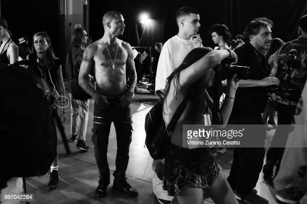 Jeremy Meeks is seen backstage ahead of the Philipp Plein show during Milan Men's Fashion Week Spring/Summer 2018on June 17 2017 in Milan Italy