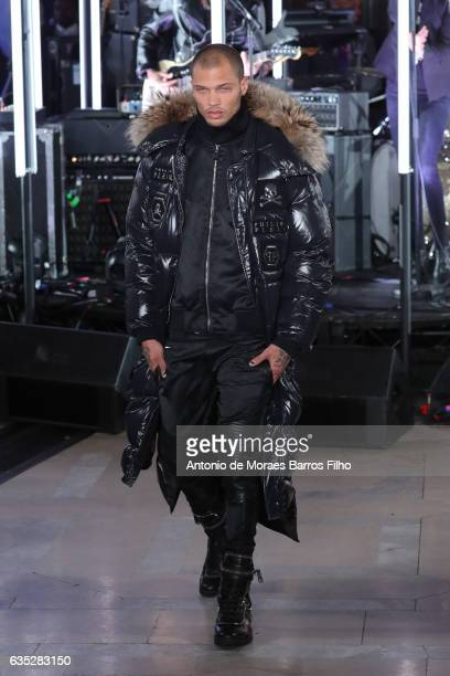 Jeremy Meeks walks the runway at Philipp Plein during New York Fashion Week at New York Public Library on February 13 2017 in New York City
