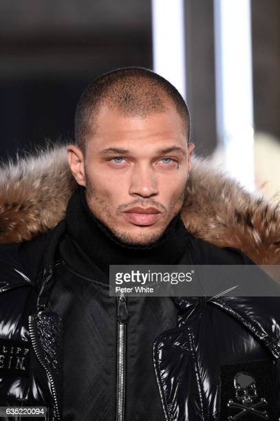 Jeremy Meeks walks the runway at Philipp Plein show during New York Fashion Week The Shows at New York Public Library on February 13 2017 in New York...