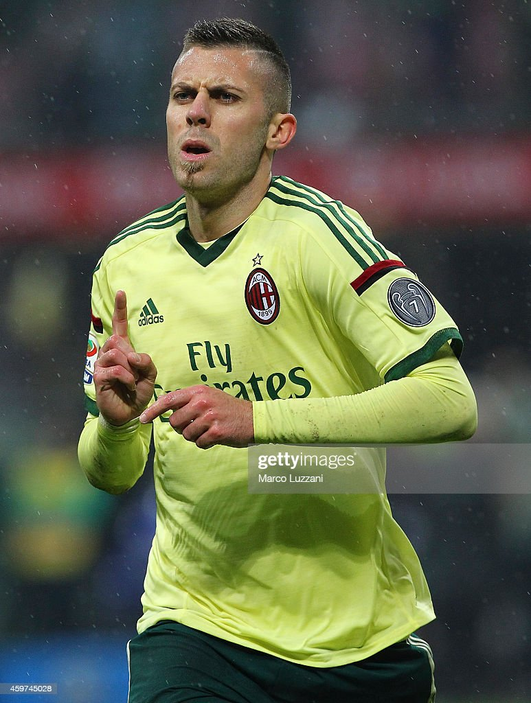 <a gi-track='captionPersonalityLinkClicked' href=/galleries/search?phrase=Jeremy+Menez&family=editorial&specificpeople=648636 ng-click='$event.stopPropagation()'>Jeremy Menez</a> of AC Milan celebrates after scoring his second goal during the Serie A match between AC Milan and Udinese Calcio at Stadio Giuseppe Meazza on November 30, 2014 in Milan, Italy.
