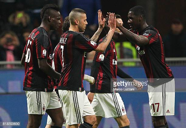 Jeremy Menez of AC Milan celebrates his second goal with his teammate Cristian Zapata during the TIM Cup match between AC Milan and US Alessandria at...