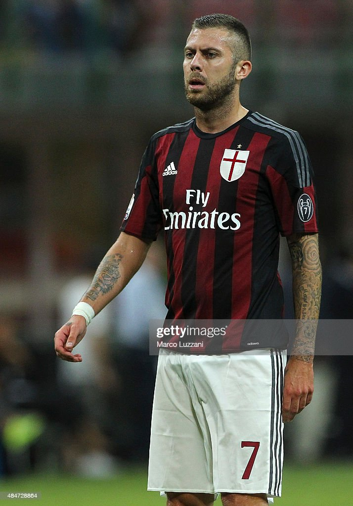 <a gi-track='captionPersonalityLinkClicked' href=/galleries/search?phrase=Jeremy+Menez&family=editorial&specificpeople=648636 ng-click='$event.stopPropagation()'>Jeremy Menez</a> of AC Milan looks on during the TIM Cup match between AC Milan and AC Perugia at Stadio Giuseppe Meazza on August 17, 2015 in Milan, Italy.