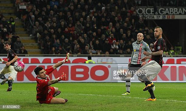 Jeremy Menez of AC Milan scores his second goal during the TIM Cup match between AC Milan and US Alessandria at Stadio Giuseppe Meazza on March 1...