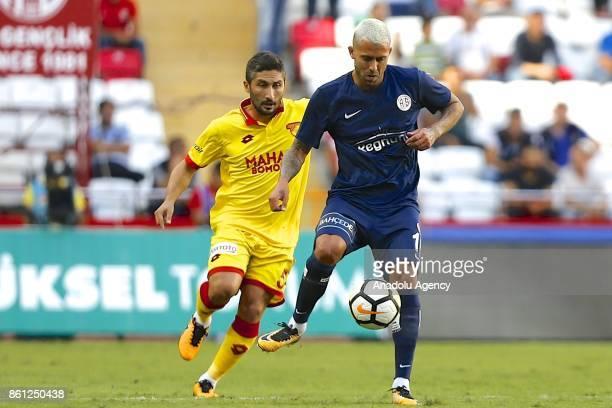 Jeremy Menez of Antalyaspor in action against Sabri Sarioglu of Goztepe during the Turkish Super Lig soccer match between Antalyaspor and Goztepe at...
