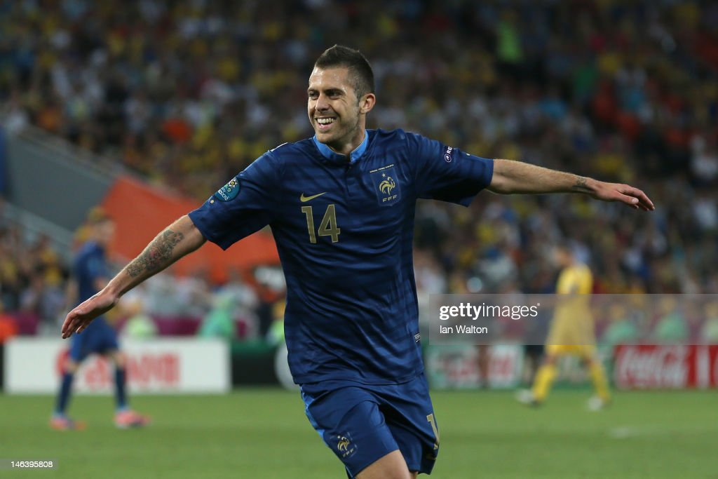 Jeremy Menez of France celebrates scoring the first goal during the UEFA EURO 2012 group D match between Ukraine and France at Donbass Arena on June 15, 2012 in Donetsk, Ukraine.
