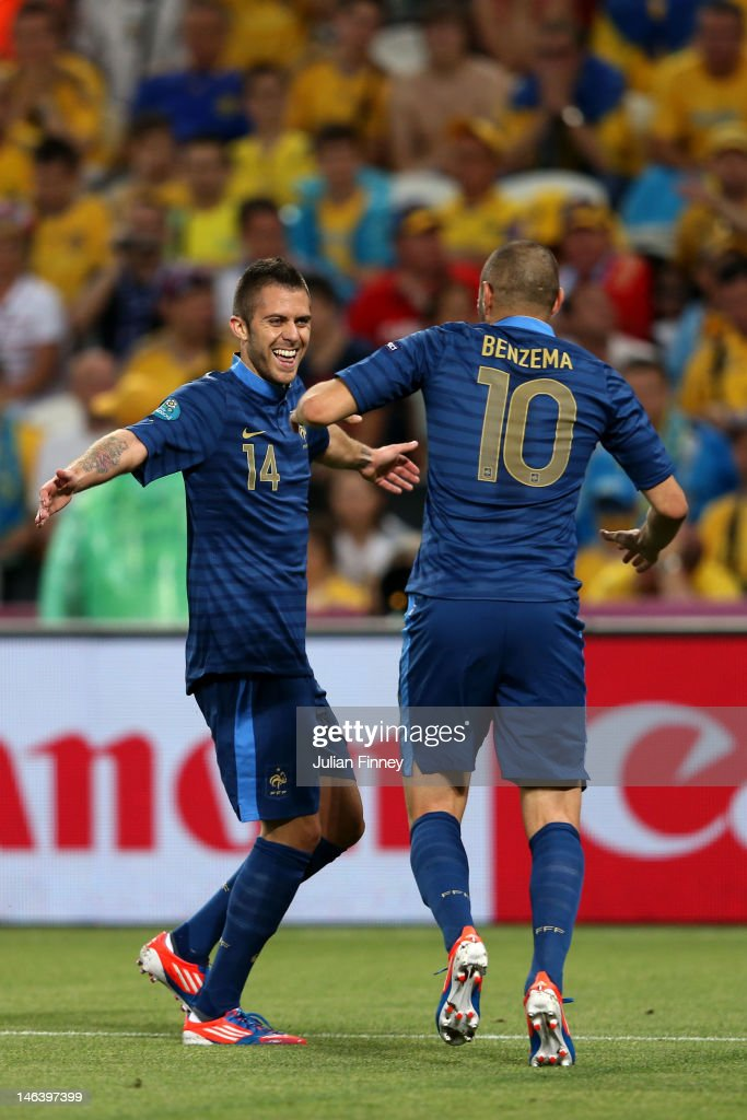 Jeremy Menez of France celebrates scoring the first goal with <a gi-track='captionPersonalityLinkClicked' href=/galleries/search?phrase=Karim+Benzema&family=editorial&specificpeople=796089 ng-click='$event.stopPropagation()'>Karim Benzema</a> of France during the UEFA EURO 2012 group D match between Ukraine and France at Donbass Arena on June 15, 2012 in Donetsk, Ukraine.