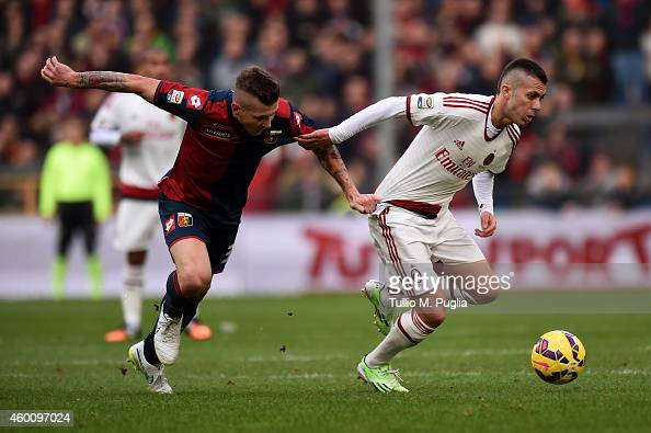 Jeremy Menez of Milan and Juraj Kucka of Genoa compete for the ball during the Serie A match between Genoa CFC and AC Milan at Stadio Luigi Ferraris...