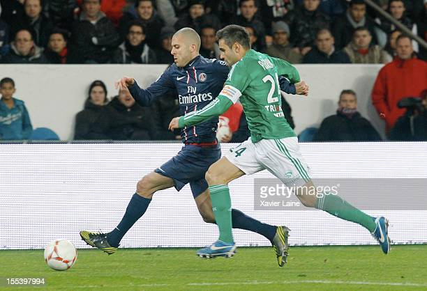 Jeremy Menez of Paris SaintGermain FC and Loic Perrin of AS SaintEtienne during the French Ligue 1 between Paris SaintGermain FC and AS SaintEtienne...
