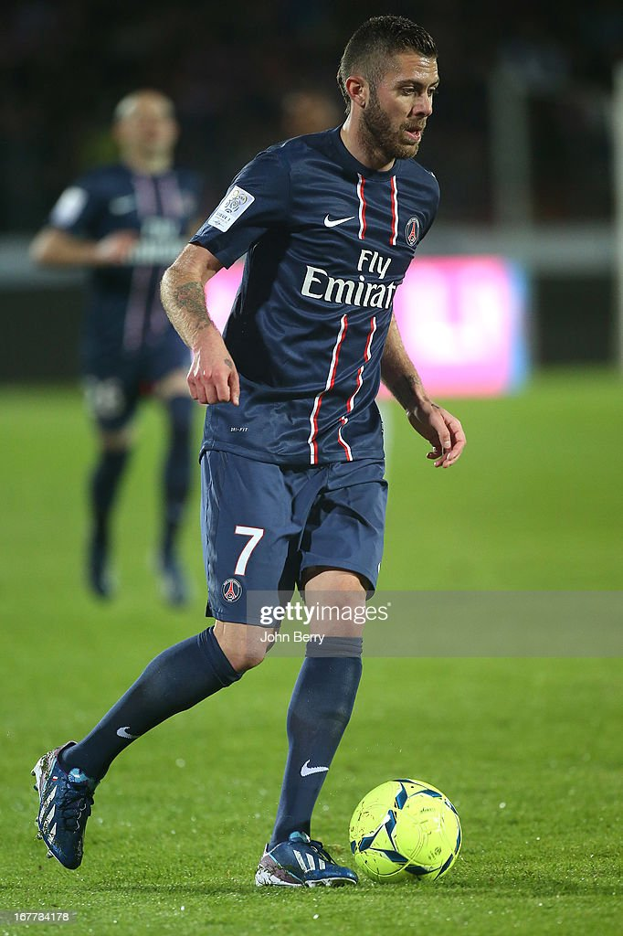 Jeremy Menez of PSG in action during the Ligue 1 match between Evian Thonon Gaillard FC, ETG, and Paris Saint Germain FC, PSG, at the Parc des Sports d'Annecy on April 28, 2013 in Annecy, France.