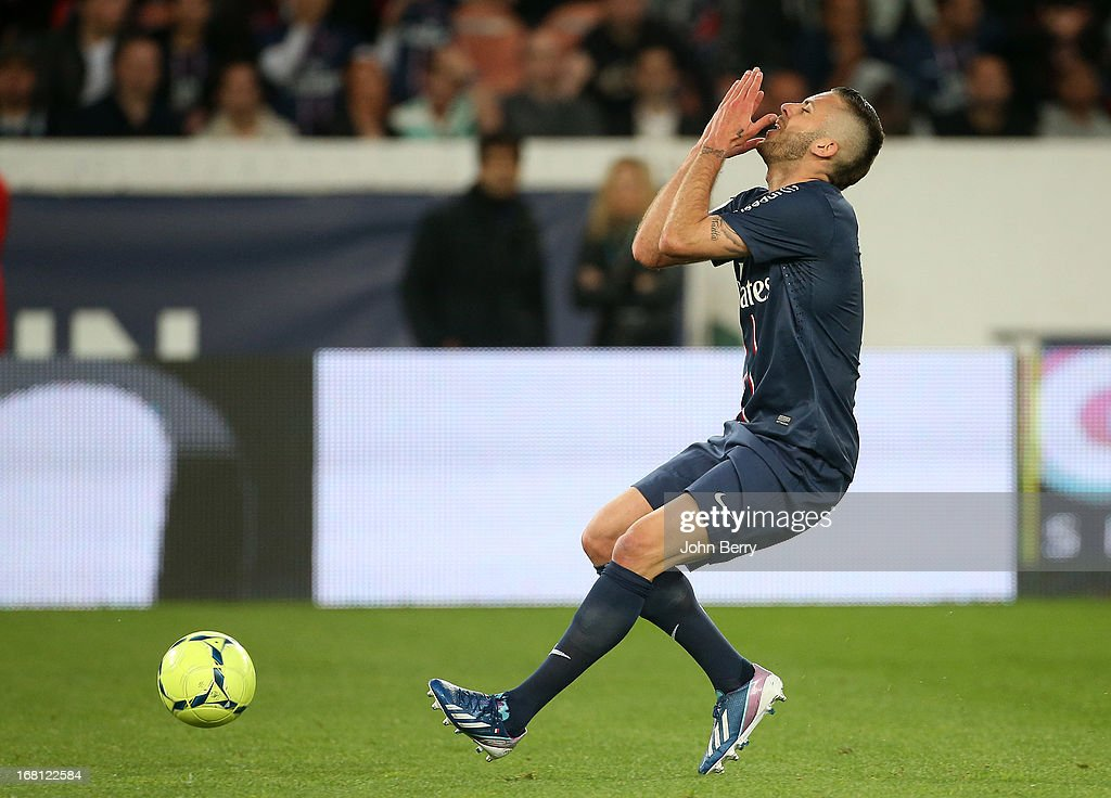 Jeremy Menez of PSG in action during the Ligue 1 match between Paris Saint-Germain FC and Valenciennes FC at the Parc des Princes stadium on May 5, 2013 in Paris, France.