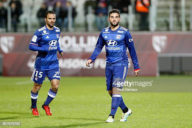 Jeremy Morel and Jordan Ferri of Lyon during the Ligue 1 match between FC Metz and Olympique Lyonnais at Stade SaintSymphorien on December 3 2016 in...