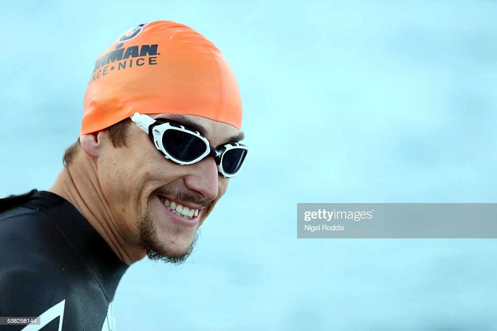 Jeremy Morel of France prepares for the swim section of Ironman France on June 5, 2016 in Nice, France.