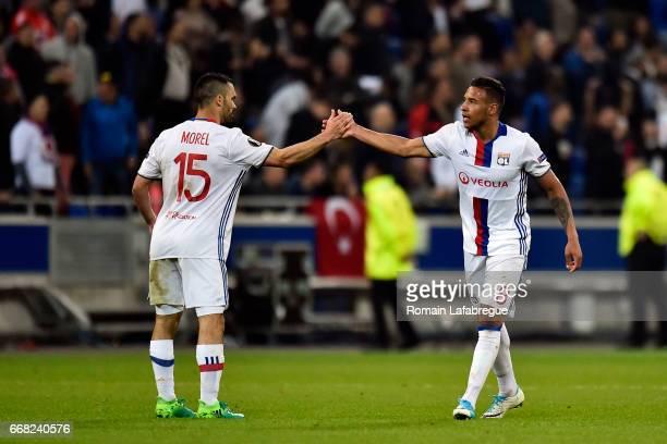 Jeremy Morel of Lyon Corentin Tolisso of Lyon during the Uefa Europa League quarter final first leg match between Olympique Lyonnais Lyon and...