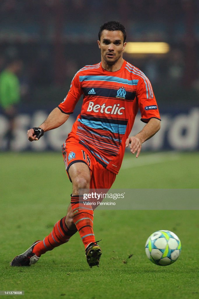 <a gi-track='captionPersonalityLinkClicked' href=/galleries/search?phrase=Jeremy+Morel&family=editorial&specificpeople=650503 ng-click='$event.stopPropagation()'>Jeremy Morel</a> of Olympique de Marseille in action during the UEFA Champions League Round of 16 second leg match between FC Internazionale Milano and Olympique de Marseille at Stadio Giuseppe Meazza on March 13, 2012 in Milan, Italy.