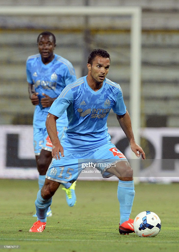 <a gi-track='captionPersonalityLinkClicked' href=/galleries/search?phrase=Jeremy+Morel&family=editorial&specificpeople=650503 ng-click='$event.stopPropagation()'>Jeremy Morel</a> of Olympique Marseille in action during the pre-season friendly match between Parma FC and Olympique Marseille at Stadio Ennio Tardini on July 31, 2013 in Parma, Italy.