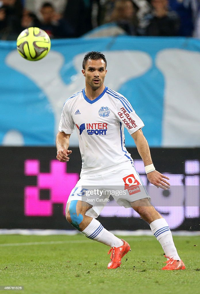 <a gi-track='captionPersonalityLinkClicked' href=/galleries/search?phrase=Jeremy+Morel&family=editorial&specificpeople=650503 ng-click='$event.stopPropagation()'>Jeremy Morel</a> of OM in action during the French Ligue 1 match between Olympique de Marseille (OM) and Paris Saint-Germain (PSG) at New Stade Velodrome on April 5, 2015 in Marseille, France.