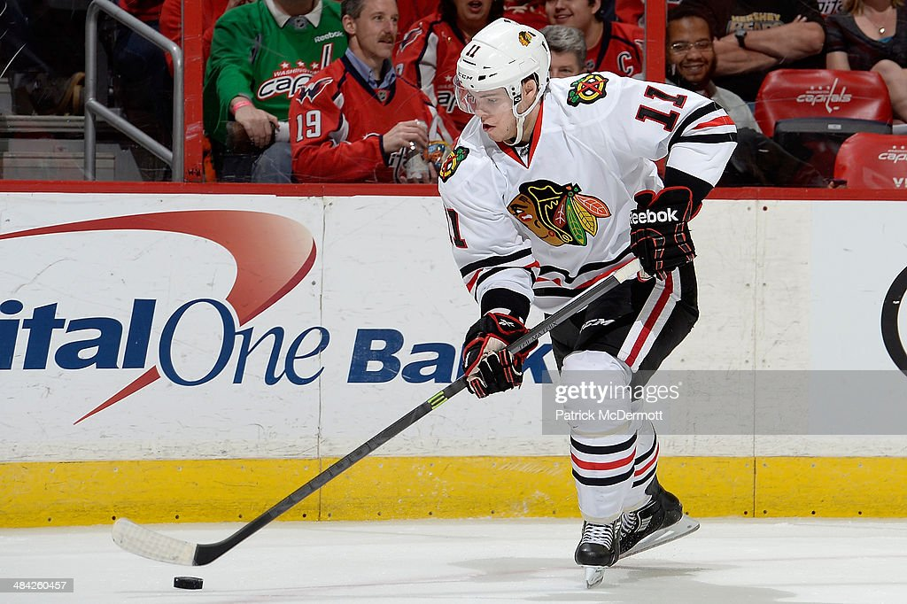 <a gi-track='captionPersonalityLinkClicked' href=/galleries/search?phrase=Jeremy+Morin&family=editorial&specificpeople=4783297 ng-click='$event.stopPropagation()'>Jeremy Morin</a> #11 of the Chicago Blackhawks controls the puck in the first period during an NHL game against the Washington Capitals at Verizon Center on April 11, 2014 in Washington, DC.