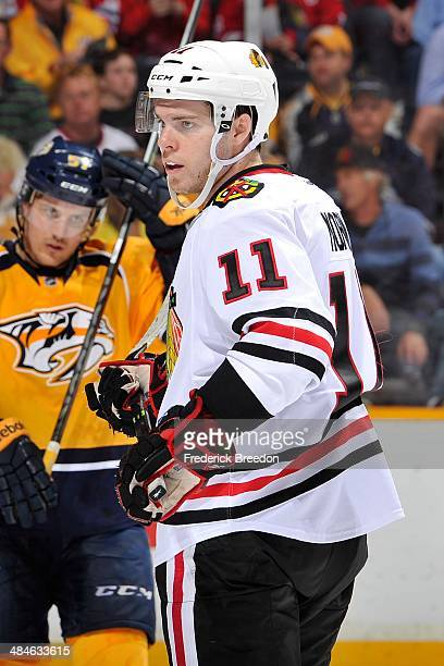 Jeremy Morin of the Chicago Blackhawks skates against the Nashville Predators at Bridgestone Arena on April 12 2014 in Nashville Tennessee
