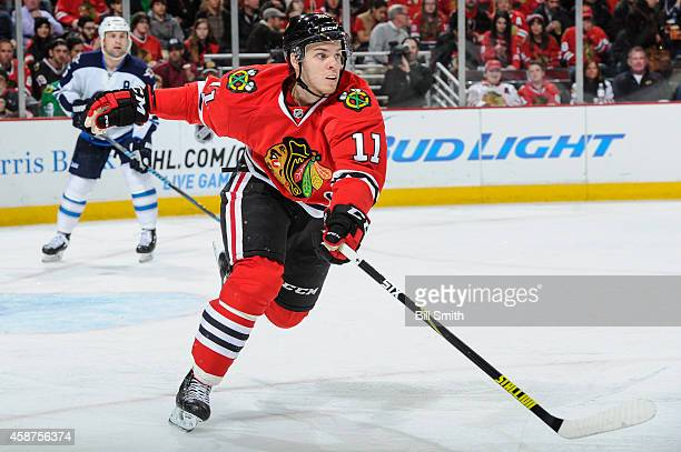 Jeremy Morin of the Chicago Blackhawks skates during the NHL game against the Winnipeg Jets on November 02 2014 at the United Center in Chicago...