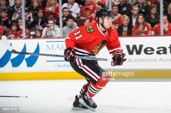 Jeremy Morin of the Chicago Blackhawks skates during the NHL game against the Carolina Hurricanes on March 21 2014 at the United Center in Chicago...