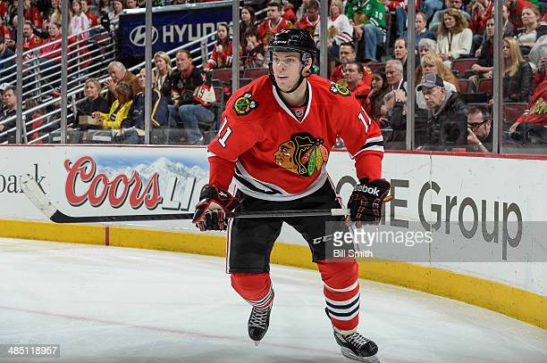 Jeremy Morin of the Chicago Blackhawks skates during the NHL game against the St Louis Blues on April 6 2014 at the United Center in Chicago Illinois